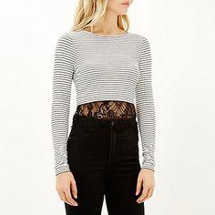 Cream stripe long sleeve lace hem t-shirt - stripe t-shirts / vests - t shirts / vests / sweats - women