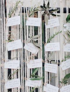 Leafy green escort cards for the modern boho bride.