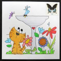 Sweet Kitty and Bird Mail Art Envelope Art, Envelope Design, Letter Art, Letter Writing, Letters, Snail Mail Pen Pals, Mail Art Envelopes, Fun Mail, Decorated Envelopes
