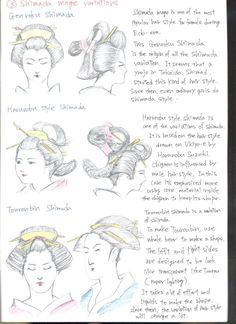 NIHONGAMI TUTORIAL 8 - Types of hairystyles for female, Shimada mage variations: Genroku Shimada [popular during Edo era], Haruniby style Shimada [variation, also influenced by male hairstyles], Touroubin Shimada [timeconsuming variation to create], by ShotaKotake.