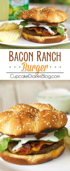 Bacon Ranch Burger - A juicy cheeseburger topped with crispy bacon and a tangy ranch dressing. Perfect for a summer BBQ! #ad #HiddenValley #HiddenValleyGreek