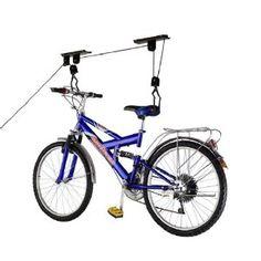 RAD Sportz Bicycle Hoist Quality Garage Storage Bike Lift with 100 lb Capacity Even Works as Ladder Lift Premium Quality Overhead Garage Storage, Bike Storage, Happy Baby, Bike Lift, Range Velo, Things To Buy, Stuff To Buy, Bike Rack, Outdoor Toys