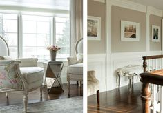 classic chairs & modern ottoman---artwork & archetectural details --- the elegant abode