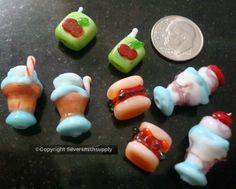 8 Fast food lampwork handmade beads milk shake sundae hamburger juice box gbs062 #Silversmithsupply #Lampwork