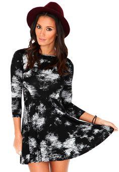 Lareinne Diffuse Print Skater Dress In Black