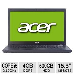 """Acer TravelMate Timeline Notebook PC - Intel Core i5-2540M 2.60GHz, 4GB DDR3, 500GB HDD, DVDRW, 15.6"""" Display, Windows 7 Professional 64-bit  This computer is designed with the Intel Core i5 processor with Turbo Boost technology together with 4GB DDR3 memory; which offers reliable performance to your system and speeds up your daily work assignments. You can safely store and save all of your important files into its 500GB hard drive."""