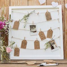 Képkeret vendégkönyv fa csipeszekkel-zsineggel és üzenőkártyával