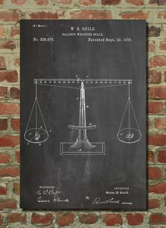 Scales of Justice Poster Lawyer Gift Balance Scale Mathematics Chemistry Art PP84 (6.99 USD) by PatentPrints