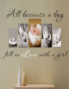 Wall Quote Decal - All Bcause a Boy Fell In Love With a Girl - Vinyl Decal - Love Quote - Bedroom - Livingroom - Picture Wall. $43.95, via Etsy.