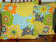Decorative Throw Pillow Covers  Button Blooms  Orange by berly731, $39.99