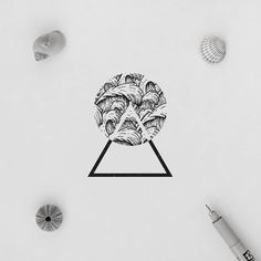 Waves and negative space illustration waves pattern geometry minimal. Cool Tattoo Drawings, Tattoo Outline Drawing, Outline Drawings, Easy Drawings, Tattoos Mandala, Tattoos Geometric, Triangle Tattoos, Negative Space Tattoo, Illustration Art Drawing