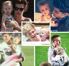 Baby lux and one direction (baby lux is their make up artists baby whom they love very much) <3