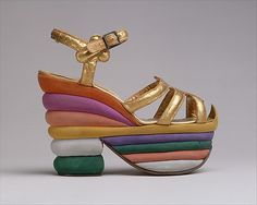 """'Sandals' designed by Salvatore Ferragamo """"credited with introducing the platform shoe"""", Italy c. 1938."""