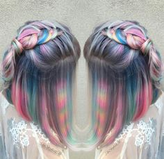 These Photos of Tie-Dye Hair Will Blow Your Magical Unicorn Mind Tie Dye Hair, Dye My Hair, Pelo Multicolor, Hair Dye Colors, Unicorn Hair, Purple Unicorn, Rainbow Hair, Rainbow Zebra, Rainbow Pastel