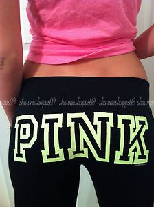 NWOT*VICTORIA'S SECRET LOVE PINK FITTED FLARE NEON GRAPHIC LOUNGE SWEAT PANTS