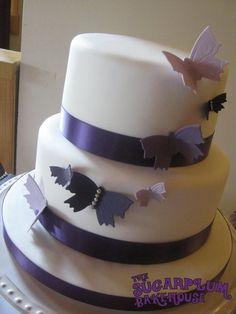 Simple 2 Tier Butterfly Wedding Cake - by SugarplumB @ CakesDecor.com - cake decorating website