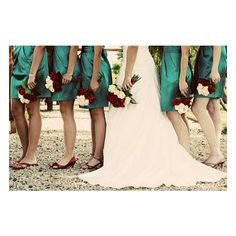 teal and red wedding inspiration found on Polyvore...I love that the girls bouquets are white on red and the brides is red on white...