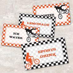 Bmx Dirt Bike Birthday Party Jar Labels set of 8 by paperandcake, $8.95