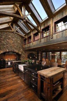 Rustic Kitchen with One-wall, Hardwood floors, Farmhouse sink, Eldorado Stone Colorado River Rock, Exposed beam, flush light