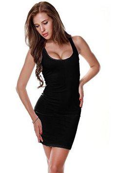 5dc0da9e7e5 DIAMONDKIT Women s Sexy Low Cut Cotton Tank Dress Vest (Medium