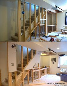 Build A Nook Under Load Bearing Wall Stairs - Modern Basement House, Basement Stairs, Basement Bedrooms, House Stairs, Basement Ideas, Office Under Stairs, Bed Under Stairs, Load Bearing Wall, Kitchen Wall Colors