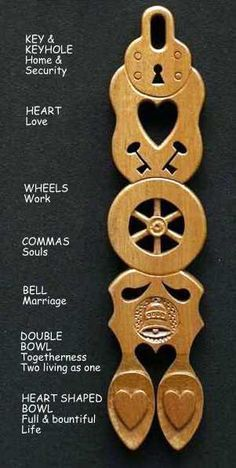 """""""A Special Romantic Gift: Welsh Love Spoons for Valentines Day, Weddings and Other Occasions"""" by How To be Hippy: Cool Ideas For Conscious Consumers Check out my post! Welsh Symbols, Learn Welsh, Welsh Words, Welsh Love Spoons, Welsh Gifts, Heart Shaped Bowls, Carved Spoons, Wood Spoon, Wood"""