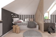 Teenage room / girl's room on Behance Loft Room, Bedroom Loft, Dream Bedroom, Bedroom Decor, Teenage Room Decor, Loft Conversion Bedroom, Grey Room, Minimalist Bedroom, Dream Rooms