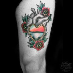 sunsettattoonz: Tom traditional anatomically correct heart with flowers and…