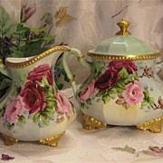 Romantic Hand Painted Victorian Roses ~ Antique Limoges France Large Sugar & Creamer Set