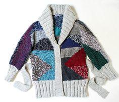 hand knit cardigan GEO nr 1 jacket coat geometric by ovejanegra