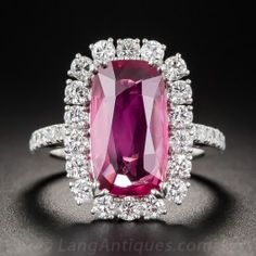 5.22 Carat Natural No-Heat Ruby and Diamond Ring - Antique & Vintage Gemstone Rings - Vintage Jewelry