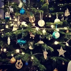 This year's theme for the Christmas tree was turquoise and white!