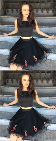 Two Piece Short Homecoming Dress,Black Homecoming Dress ,Short #homecomingdresses