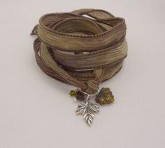Silk Ribbon Bracelet with Sterling Leaf Charm by charmeddesign1012