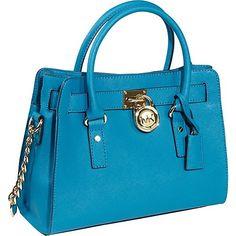 Michael Kors Handbag Hamilton Saffiano Leather E/W Satchel Turquoise