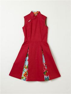 This cheongsam dress is bright and cheery. While it retains the traditional Mandarin collars, the dress is modified with a flare skirt that flatters most body shapes