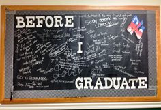 """Before I Graduate"" interactive bulletin board. Second Bulletin Board of the semester College Bulletin Boards, Interactive Bulletin Boards, Interactive Whiteboard, Ra College, College Years, Freshman Year, College Graduation, College Students, Junior Senior"