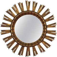 Early 20th Century French Giltwood Sunburst Mirror   From a unique collection of antique and modern sunburst mirrors at https://www.1stdibs.com/furniture/mirrors/sunburst-mirrors/