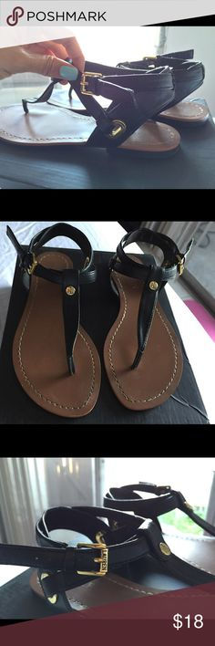 SALE! Lauren Ralph Lauren Sandals Black Size 6 Adina flat black thong sandals from Lauren by Ralph Lauren with faux leather material and gold details. These have only been used a few times! They are very stylish and go with just about anything. They are a size 6. Price firm Lauren Ralph Lauren Shoes Sandals