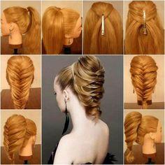Easy hairstyles for long hair videos in urdu new 336 best hairstyle Fishtail Hairstyles, Fancy Hairstyles, Fishtail Ponytail, Braid Hair, Beautiful Hairstyles, Hairstyle Braid, Classic Hairstyles, Hairstyles 2018, Medium Hairstyles