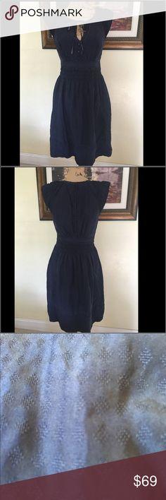 Anthropologie Maeve Silk Dress Anthropologie Maeve Silk Dress. Gorgeous blue color with velvet trim.  100% silk. Anthropologie Dresses Midi