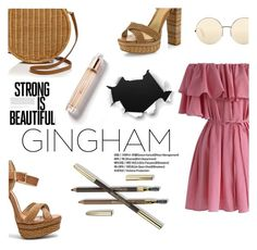 """""""Check Republic: Gingham Dress"""" by samanthasade ❤ liked on Polyvore featuring Chicwish, Schutz, Serpui, Lancôme, Victoria Beckham, Burberry, StreetStyle, gingham, fashionset and StreetChic"""