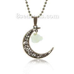 Wholesale New Fashion Quartz Crystal Moon Pendant Necklace Ball Chain Antique Bronze Light Green Flower Hollow Carved – 8seasons.com