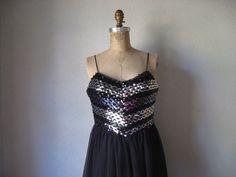 vintage 1970s to 1980s dress / joy stevens black by SHESABETTIE, $88.00