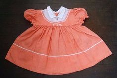 Vtg Baby Girl Doll Party Dress 3-6M Peach Orange Gingham Plaid Rick Rack Spring #Unbranded #Party #EasterFormalParty