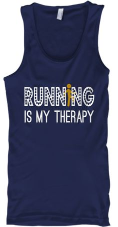 Runn Ng Is My Therapy Navy Tank Top Front
