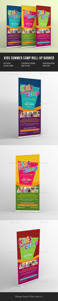 Kids Summer Camp Rollup Banner - Signage Print Template PSD. Download here: http://graphicriver.net/item/kids-summer-camp-rollup-banner/16496543?s_rank=136&ref=yinkira