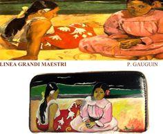 Portafogli dipinti a mano, portafogli dipinti, vera pelle, hand-painted wallets, Donne Thaitiane sulla spiaggia, Gauguin.