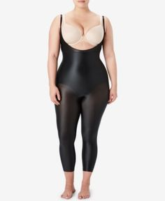 63d79389aaa34 Spanx Women s Plus Size Suit Your Fancy Open-Bust Catsuit 10155P - Black 1X