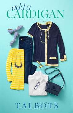 Shop our New Arrivals—including covetable cardigans with contrast tipping and flattering denim. Shop our newest styles of the season and you'll feel perfectly pulled together. Preppy Mode, Preppy Style, My Style, Classic Outfits, Casual Outfits, Fashion Outfits, Womens Fashion, Fashion Top, Work Casual